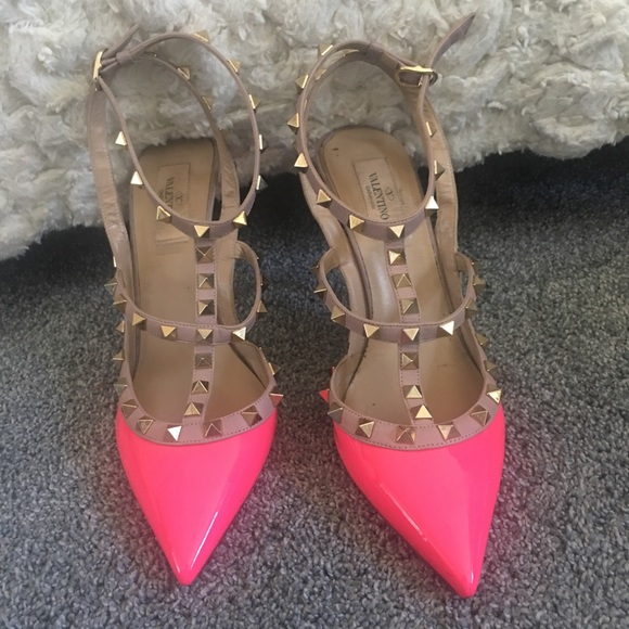valentino hot pink studded shoes